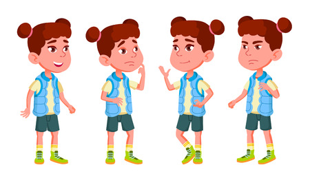 Girl Kindergarten Kid Poses Set Vector. Character Playing. Childish. Casual Clothe. For Presentation, Print, Invitation Design. Isolated Illustration