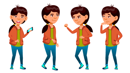 Asian Girl Poses Set Vector. High School Child. Smile, Activity, Beautiful. For Web, Brochure, Poster Design Isolated Illustration