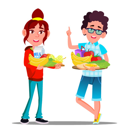 Healthy Food, Happy Boy And Girl With Fruits Vector. Isolated Illustration Ilustração