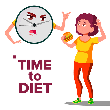 Time To Diet Concept, Wall Clock Screaming At Girl With Hamburger Vector. Isolated Illustration