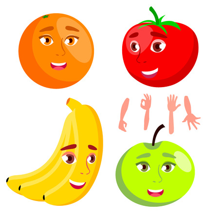 Smiling Orange, Tomato, Apple, Banana, Healthy Eating Concept Vector Isolated Illustration