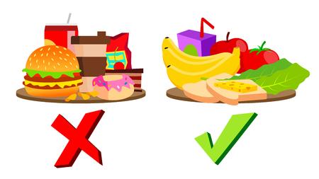 Vettore di concetto di cibo sano e malsano. Illustrazione isolata
