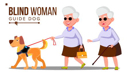 Blind Old Woman With Dark Glasses, Cane In Hand And Guide Dog Vector. Isolated Illustration