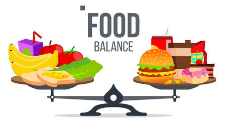 Equilibrio de Vector de alimentos saludables y no saludables. Ilustración aislada