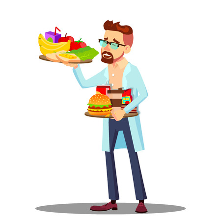 Nutritionist With Fruits And Hamburgers In Hands, Healthy And Unhealthy Food Vector. Isolated Illustration