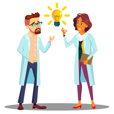 Doctor Man, Woman Found Answer, Solution, Idea. Light Bulb Above Head Vector. Isolated Illustration