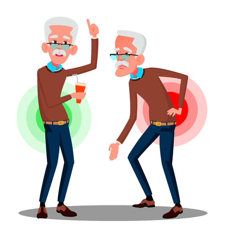 Bent Over Old Man From Back Ache, Sciatica Vector. Isolated Illustration