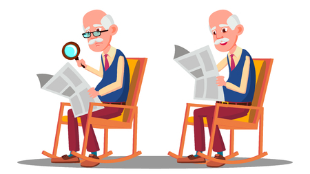 Visually Impaired Elderly Man Reading A Book Through A Magnifying Glass Vector. Isolated Illustration Stockfoto - 126553233
