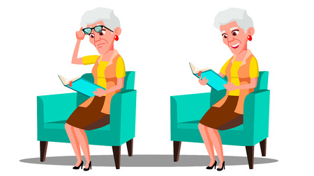 Visually Impaired Elderly Woman Reading A Book Vector. Isolated Illustration  イラスト・ベクター素材