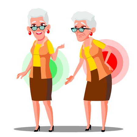 Penché sur la vieille femme du mal de dos, vecteur de la sciatique. Illustration isolée