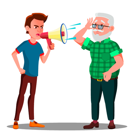 Guy Screaming To Hearing Impaired Elderly Man Vector. Isolated Illustration