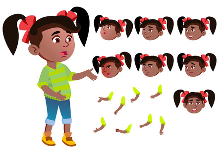 Girl, Child, Kid, Teen Vector. Black. Afro American. Beautiful. Youth, Caucasian Face Emotions Various Gestures Animation Creation Set Isolated Flat Cartoon Illustration Ilustração