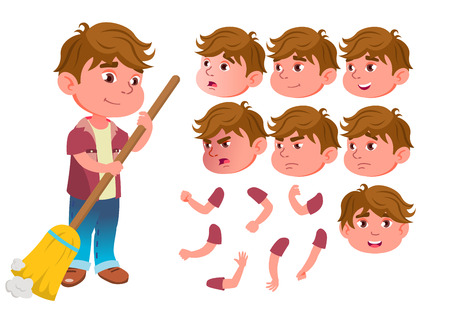 Boy, Child, Kid, Teen Vector. Expression. Lifestyle, Friendly. Face Emotions, Various Gestures. Animation Creation Set. Isolated Flat Cartoon Character Illustration