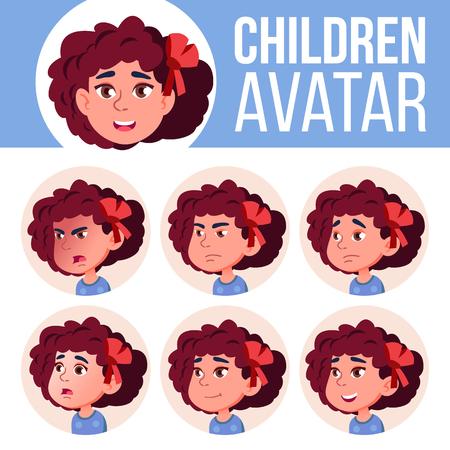 Girl Avatar Set Kid Vector. Kindergarten. Face Emotions. Web, Head, Icon. Beauty Lifestyle Friendly Poster Clipart Cartoon Illustration Vector Illustratie