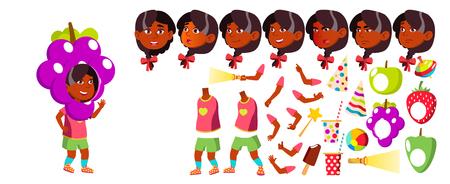 Girl Kindergarten Kid Vector. Animation Creation Set. Face Emotions, Gestures. Preschool. Young Positive Person. Indian, Hindu. Asian. Brochure Poster Design Animated Cartoon Illustration