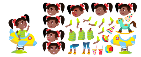Girl Kindergarten Kid Vector. Animation Creation Set. Black. Afro American. Emotions, Gestures. Baby Expression. For Presentation, Print Invitation Design Animated Isolated Illustration