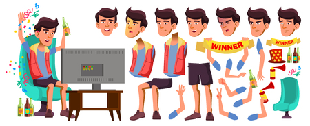 Asian Teen Boy Vector. Animation Creation Set. Face Emotions, Gestures. Friendly, Cheer. Animated. For Presentation, Print Invitation Design Isolated Illustration