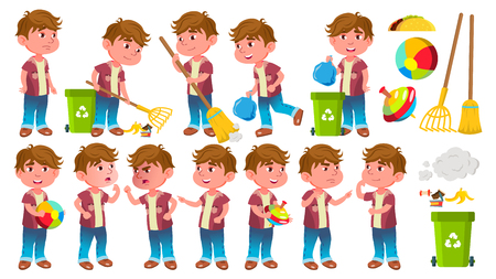 Boy Kindergarten Kid Poses Set Vector. Little Child. Helping On The Garden. Cleaning. Lifestyle. For Advertising, Placard, Print Design. Isolated Illustration