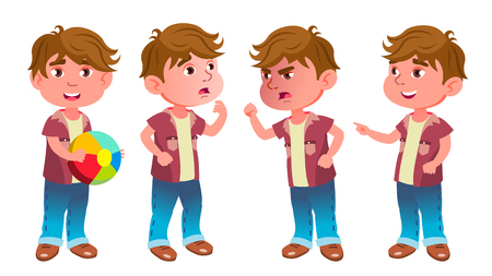 Boy Kindergarten Kid Poses Set Vector. Little Child. Having Fun. For Advertisement, Greeting, Announcement Design. Isolated Cartoon Illustration