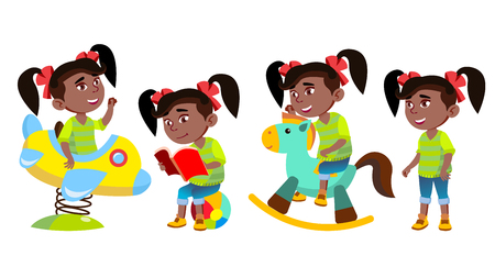 Girl Kindergarten Kid Poses Set Vector. Black. Afro American. Little Child. Funny Toy. Having Fun On Playground. For Advertising, Placard, Print Design. Isolated Cartoon Illustration