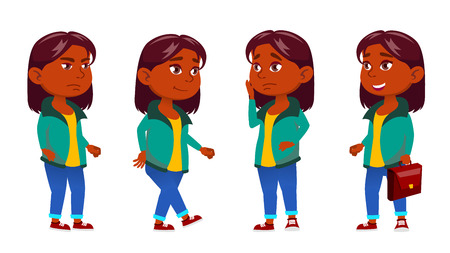 Girl Kid Poses Set Vector. Indian, Hindu. Asian. Primary School Child. Active, Joy, Leisure. For Advertisement Announcement Design Isolated Illustration