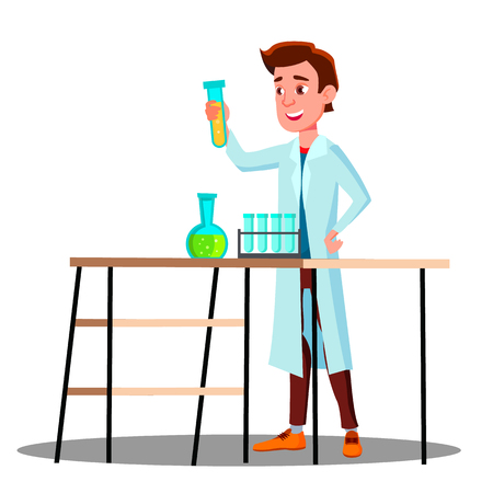 Laboratory Technician Guy Growing Medicinal Vector. Isolated Illustration