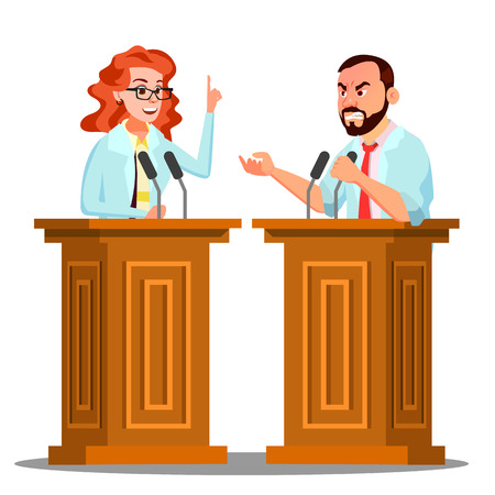 Two Doctor Argue Behind The Tribune With Microphone At Conference Vector. Isolated Illustration