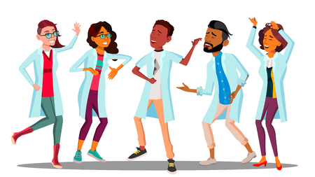 Celebrating Doctor s Day, Dancing Group Of Happy Doctors Vector. Isolated Illustration