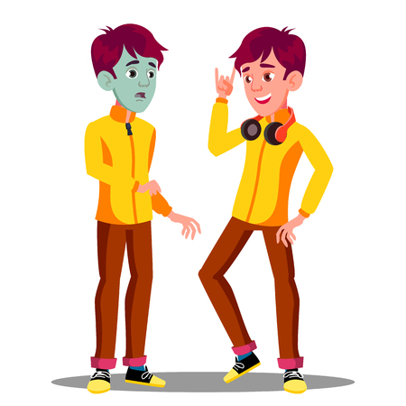 Sick Teen Guy With Green Face, Before And After Vector. Isolated Illustration