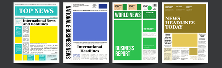 Newspaper Cover Set Vector. Paper Tabloid Design. Daily Headline World Business Economy And Technology. Text Articles, Images. World News Economy Headlines. Tabloid. Breaking. Illustration