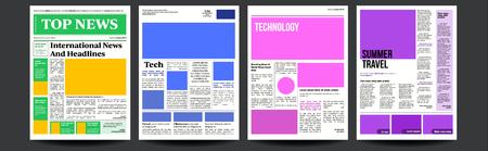 Vector de periódico. Diseño de diario. Artículos de noticias financieras, información comercial publicitaria. Ilustración