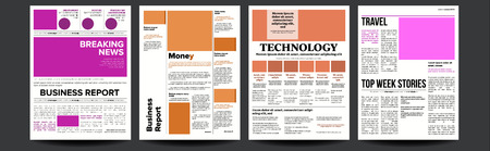 Newspaper Vector. Realistic Pages Template. News Page Layout. Columns And Photos. Illustration