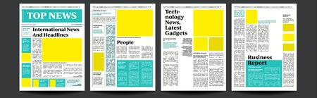 Vector de periódico. Plantilla de páginas realistas. Diseño de página de noticias. Columnas y fotos. Ilustración