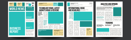 Newspaper Vector. Paper Tabloid Design. Daily Headline World Business Economy News And Technology. Illustration