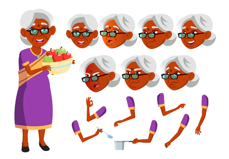Indian Old Woman Vector. Hindu. Asian. Senior Person. Aged, Elderly People. Friends, Life. Face Emotions, Various Gestures Animation Creation Set Isolated Flat Cartoon Illustration