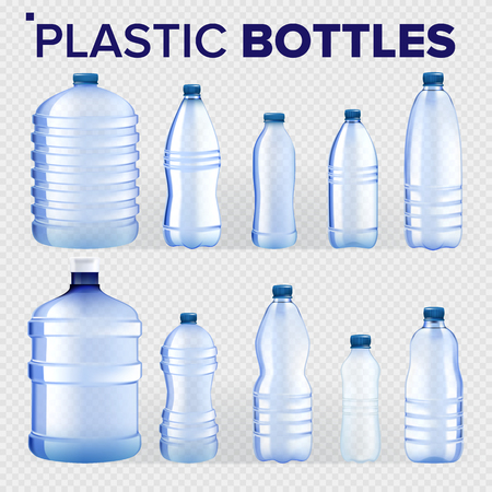 Plastic Bottles Set Vector. Different Types Of Bluer Classic Water Bottle With Cap. Container For Drink, Beverage, Liquid, Soda, Juice. Branding. Realistic Isolated Transparent Illustration Vektorgrafik