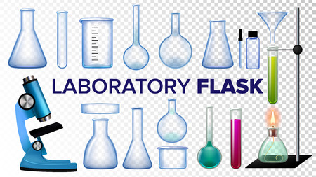Laboratory Flask Set Vector. Chemical Glass. Beaker, Test-tubes, Microscope. Empty Equipment For Chemistry Experiments. Isolated Realistic Transparent Illustration Stock Photo