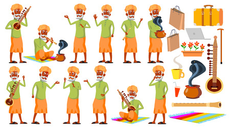 Indian Old Man Poses Set Vector. Hindu. Asian. Elderly People. Senior Person. Aged. Snake Cobra Dance. Presentation, Invitation, Card Design Isolated Illustration