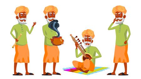 Il vecchio indiano pone il vettore impostato. Indù. Asiatico. Anziani. Persona anziana. invecchiato. Danza del serpente cobra. Web, brochure, poster design illustrazione isolato Vettoriali