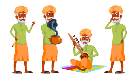 Indian Old Man Poses Set Vector. Hindu. Asian. Elderly People. Senior Person. Aged. Snake Cobra Dance. Web, Brochure, Poster Design Isolated Illustration  イラスト・ベクター素材