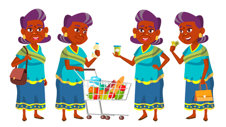 Indian Old Woman Shopping Vector. Elderly People. Hindu In Sari. Asian. Senior Person. Aged. Caucasian Retiree. Smile. Advertisement, Greeting Announcement Design Isolated Illustration