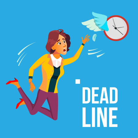 Deadline Vector. Business Woman Catching By Hands Flying Clock. Illustration