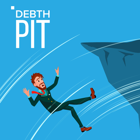 Falling Scared Businessman Vector Falls From The Edge Of The Mountain Edge Crisis, Bankruptcy, Debt Pit. Illustration