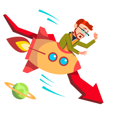 Businessman Riding A Rocket Falls Down Falling Red Arrow Vector. Illustration