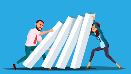 Business Competition Vector. Businessman And Woman From Two Sides Pushing Dominoes At Each Other. Illustration