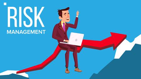 Vettore di gestione del rischio. Uomo d'affari seduto con il computer portatile sulla freccia rossa come ponte tra le rocce. Illustrazione Vettoriali