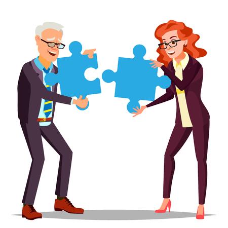Partnerschaft Vektor. Geschäftsmann, Mann, Frau, die zwei große Puzzles in den Händen hält und zusammensetzt. Illustration