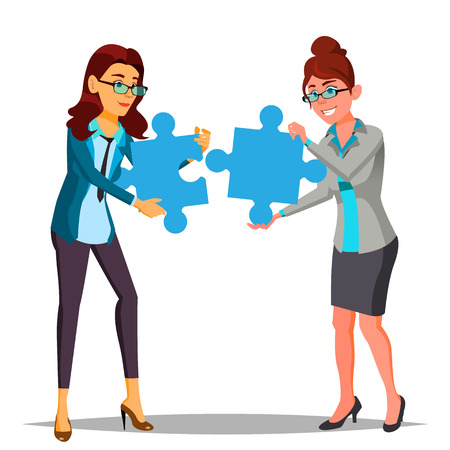 Partnership Vector. Two Business Woman Holding In Hands Large Puzzles And Put It Together. Illustration Vektorgrafik