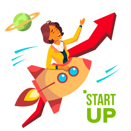 Startup Vector. Rocket Soars Up On Background Of Red Arrow Growthing Up. Business Woman Enjoying Good Start. Illustration 矢量图像