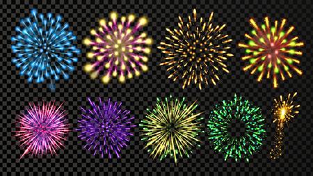 Fireworks Set Vector. Festive Carnival Night Sky. Bursting Sparkling Star Petard Light Effect. Holiday Anniversary Salute Burst. Isolated On Transparent Background Illustration